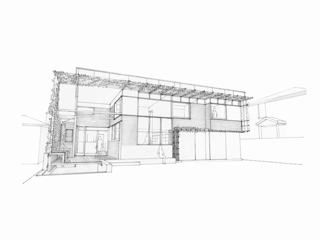 Sketch of the new portion of an extended house.