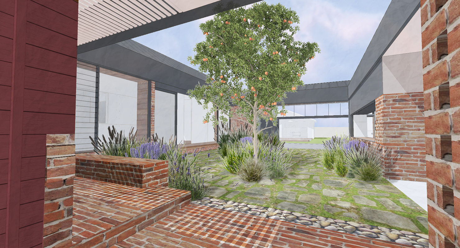 Computer Rendering Of A Brick Foreground And A Planted Courtyard Beyond.