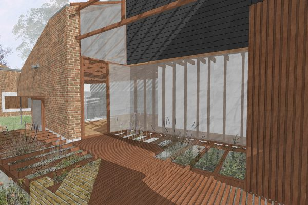 Rendering Of A Stripped Back And Extended Timber Framed Cottage Onto A House That Engages With It's Garden