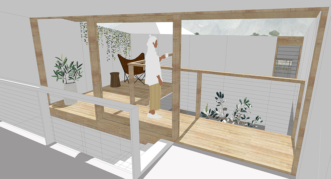 Simple Computer Render Of A The Design For A Balcony Overlooking A Courtyard
