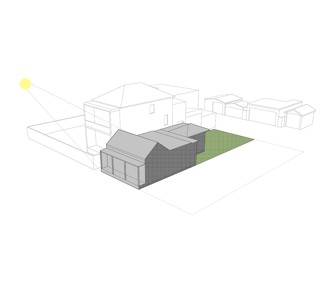 A Simple Coloured Line Drawing Of The Existing Cottage And Context On The Site Where The Hamilton Little Big House Is Located.