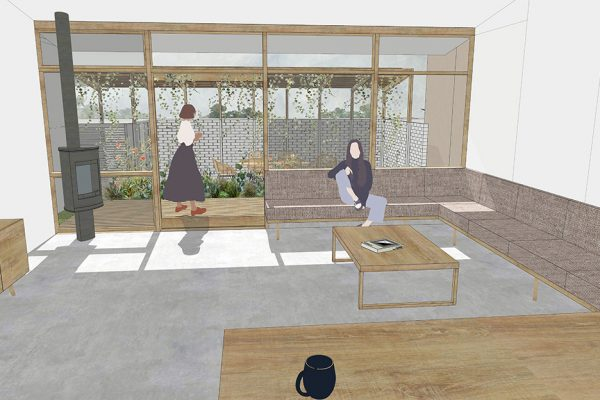 Simple Computer Render Of A The Design For Living Area Looking Onto A Garden