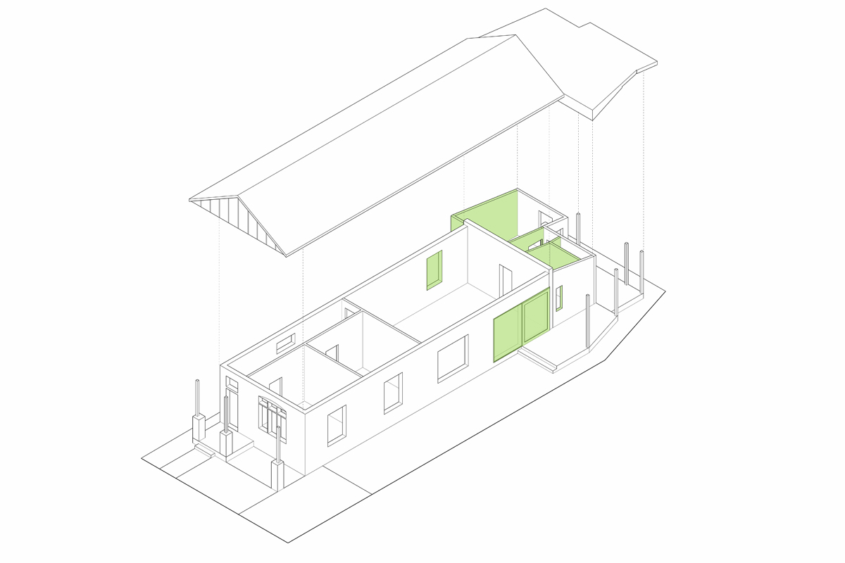 A Diagram If The New Walls And Opening Added To A Cottage As Part Of Its Alterations To A Modern Family Home.