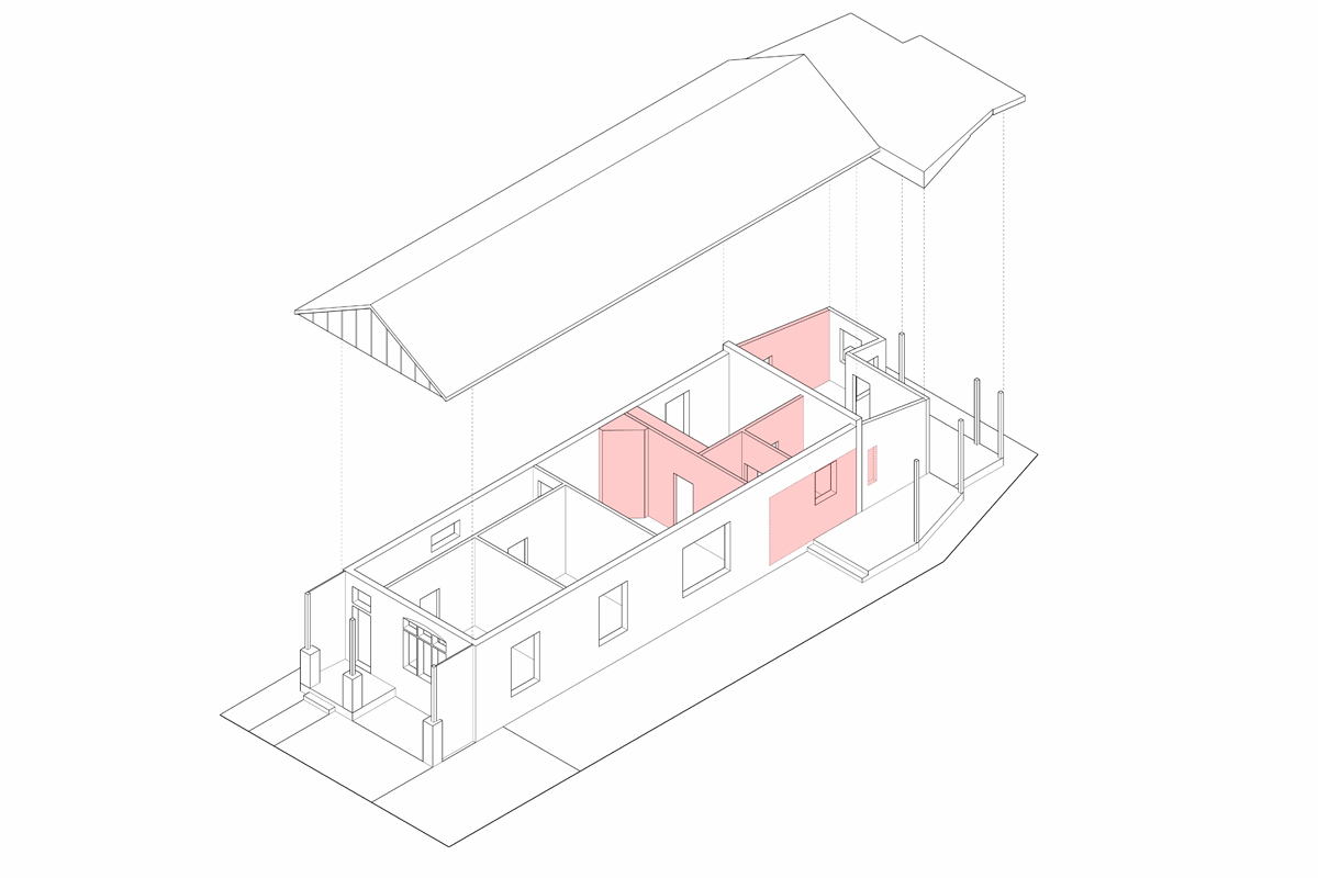 Diagram For The Parts Of A Cottage That Were Removed As Part Of It's Alterations And Additions.