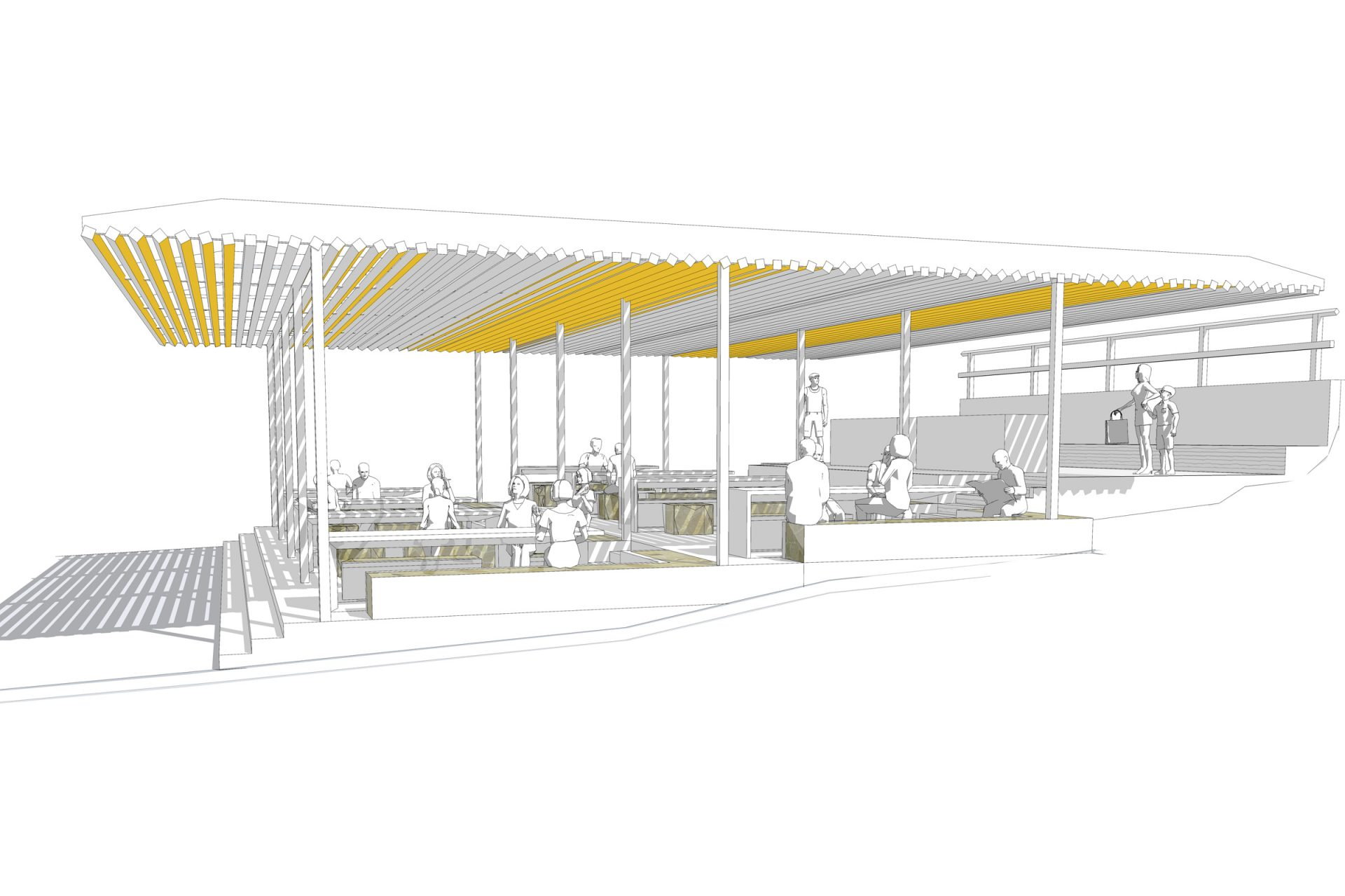 Rendering Of A Multi Table Picnic Shelter.