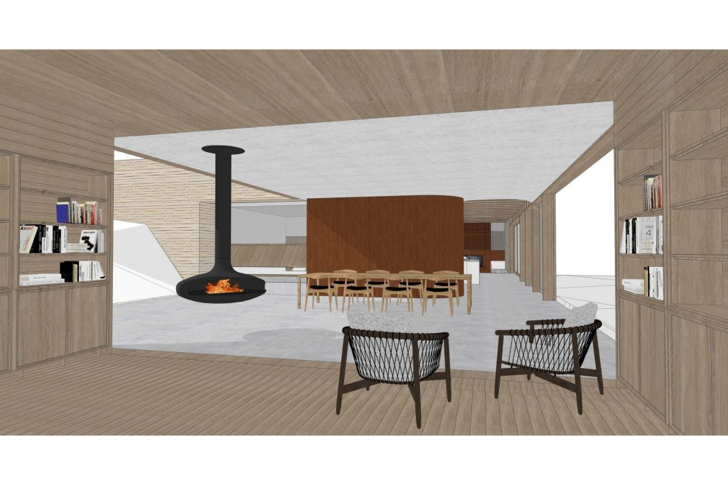 Rendering of a dining area.